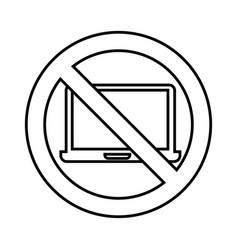 Laptop computer with denied sign vector