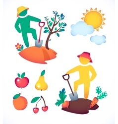 man planting a tree and admire vector image