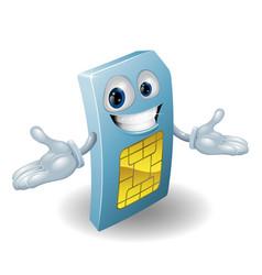 Mobile phone sim card mascot vector