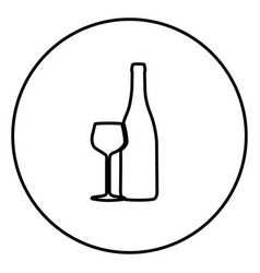 Monochrome contour circular frame with bottle and vector
