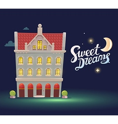 Night house with red roof on dark blue sk vector