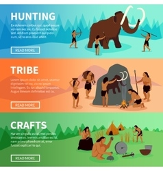 Prehistoric stone age caveman banners vector