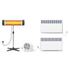 Set icons of heaters household appliances on a vector