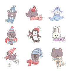set of cute animals in the winter nursery art vector image vector image