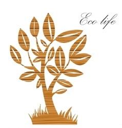 Vecctor summer tree with wood texture on a paper vector