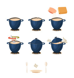 Visual phased cooking instruction vector