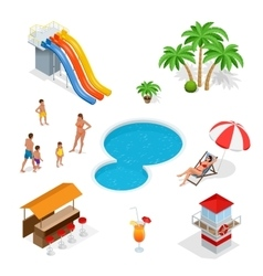 Water amusement park playground with slides and vector image
