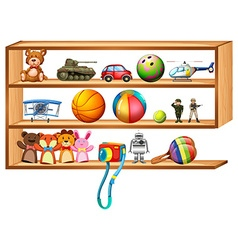 Wooden shelf full of toys vector image vector image