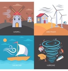 Wind energy flat concept vector