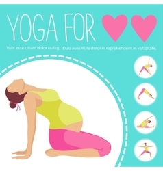 Pregnant woman doing exercise variants of poses vector