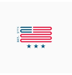 American flag logo red and blue ribbon design vector