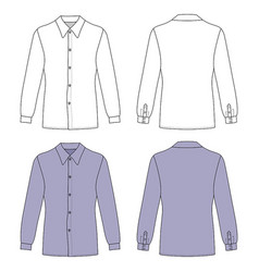 long sleeve mans buttoned shirt vector image