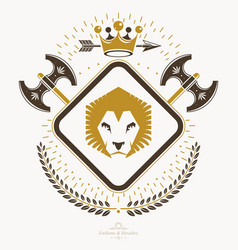 Luxury heraldic emblem template blazon vector