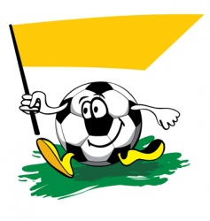 Cartoon soccer ball with flag vector