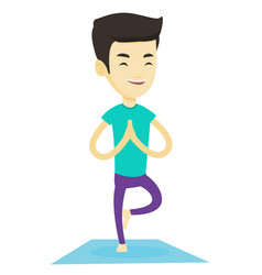 young man practicing yoga tree pose vector image