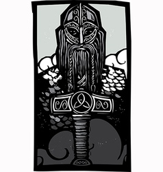Thor and Mjolnir vector image