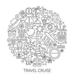 Travel cruise thin line concept vector