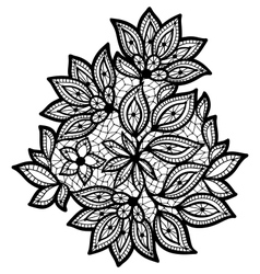 Black and lace floral design isolated on white vector
