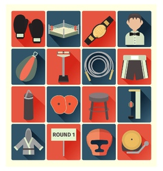 Flat icons boxing vector