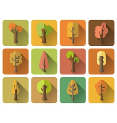 Set of 12 square autumn icons with long flat vector