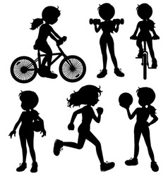 Silhouette girl vector