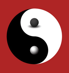 3d sphere black and white yin yang symbol vector