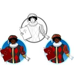 Zwarte Piet Black Pete with book vector image