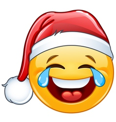 Tears of joy emoticon with santa hat vector