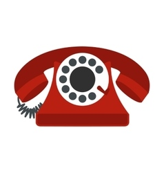 Retro red telephone flat icon vector image