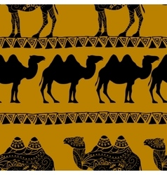 Seamless pattern with camel silhouette vector