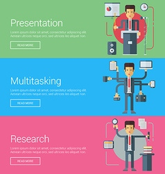 Presentation multitasking research flat design vector