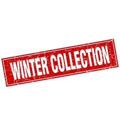 Winter collection red square grunge stamp on white vector