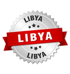 Libya round silver badge with red ribbon vector