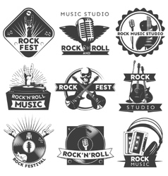 Black isolated music label set vector