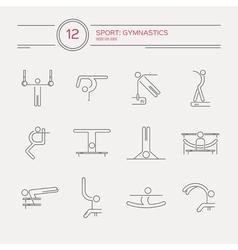 Artistic gymnastics icons vector