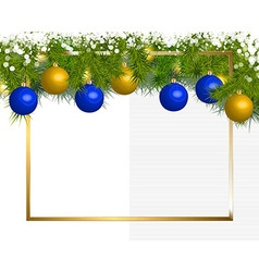Banner of fir branches and Christmas balls vector image