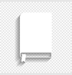 Book sign white icon with soft shadow on vector