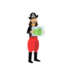 cartoon captain of pirate vessel standing with vector image
