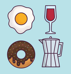 Coffee and food icon vector