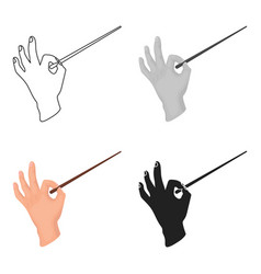 Conductor orchestra icon in cartoon style isolated vector