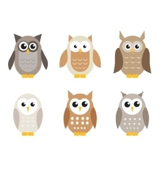 Cute cartoon owl set Owls in shades of gray vector image