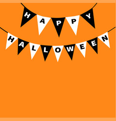 Happy halloween card bunting flags pack letters vector