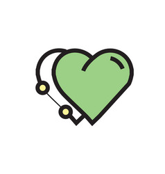 Icon twins heart pen tool style green vector