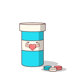 Isolated cartoon viagra drugs for making love stro vector image