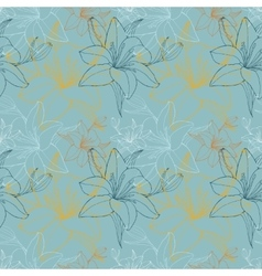 Lily in blue color scheme seamless pattern vector
