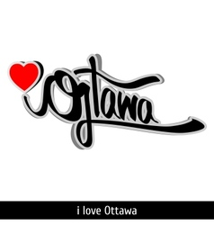 Ottawa greetings hand lettering Calligraphy vector image