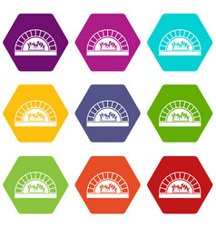 pizza oven with fire icon set color hexahedron vector image vector image