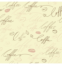 seamless background with coffee inscription vector image