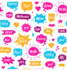 seamless hand drawn pattern speech bubbles vector image vector image