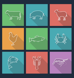 set of icons of animals vector image